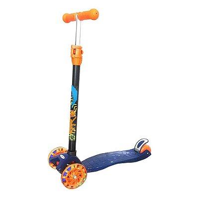 Patinete Infantil New Plus Com Luz - Azul Petróleo - DM Toys