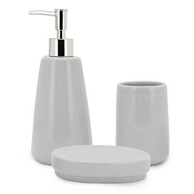Conjunto de Banheiro Pale Cerâmica Grey - 3 Peças - Mimo Style