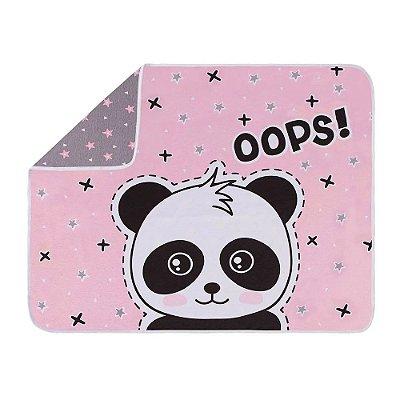 Manta Para Bebê em Malha - Panda Rosa - Colibri