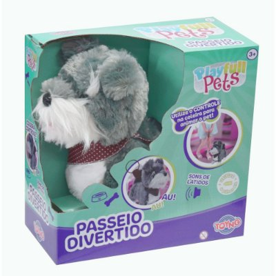 Play Full Pets Passeio Divertido - Cachorrinho Cinza e Branco - Toyng