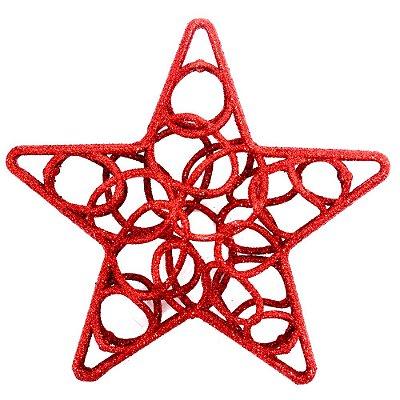 Enfeite de Natal - Estrela Vazada Vermelha - Wincy