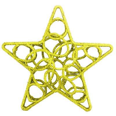 Enfeite de Natal - Estrela Vazada Dourada - Wincy
