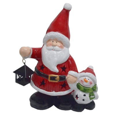 Enfeite de Natal em Cerâmica - Papai Noel com Pisca - Wincy