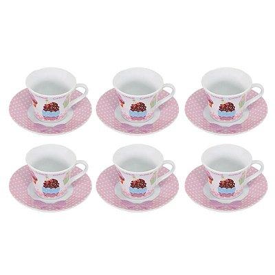 Conjunto de Xícaras Cupcakes - 12 Peças - Wincy
