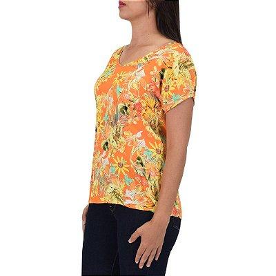 Blusa Feminina Laranja Estampada - MX