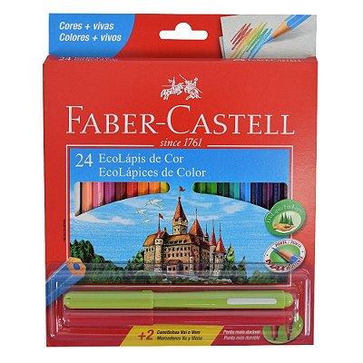 Lápis de Cor Sextavado Faber Castell - 24 cores + 2 canetinhas