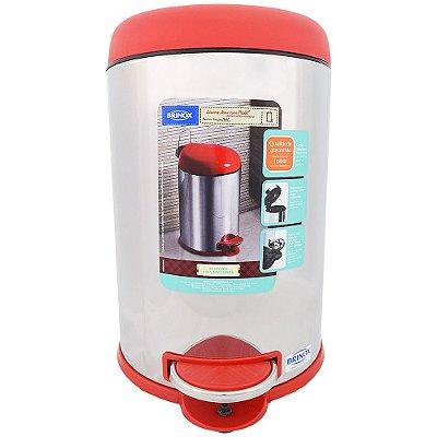 Lixeira em Aço Inox com Pedal - Vermelha - 5 Litros - Brinox