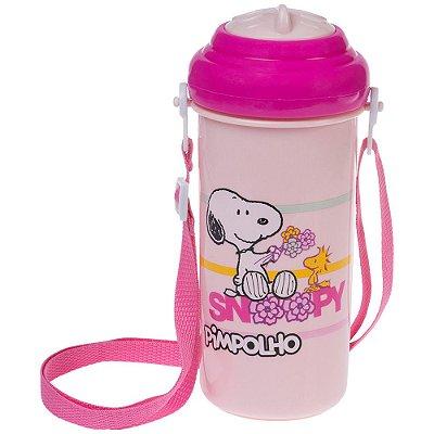 Copo com Canudo de Silicone Peanuts Snoopy - 400 ml - Rosa - Pimpolho