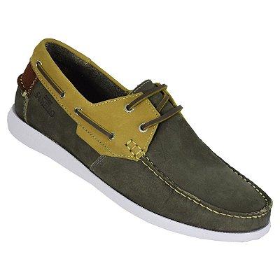 Sapato Masculino Deckshoes Marlin - Verde/Mostarda - Samello