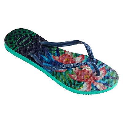 Chinelo Havaianas Slim Tropical - Menta/Azul