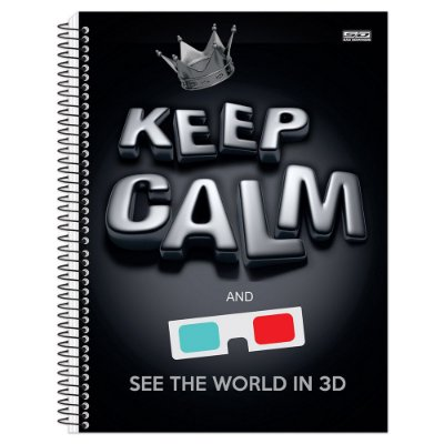 Caderno Keep Calm and See the World in 3D - 1 Matéria
