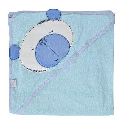 Toalha Bordada com Capuz Azul - Bicho Molhado