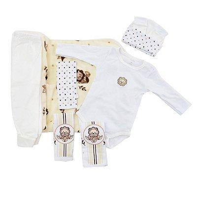 Kit para Bebê Leãozinho Branco e Bege - 6 peças - Colibri