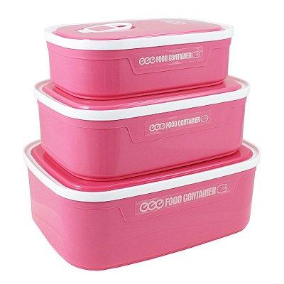 Conjunto de Potes para Alimentos Fitness - Rosa