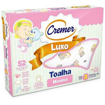 Toalha Luxo Estampada Menina - 3 unidades - Cremer