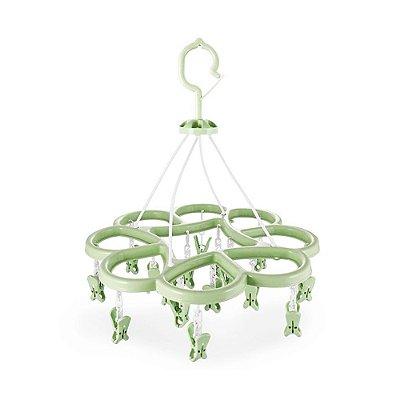 Mini Varal - 16 Pregadores - Verde - Jacki Design