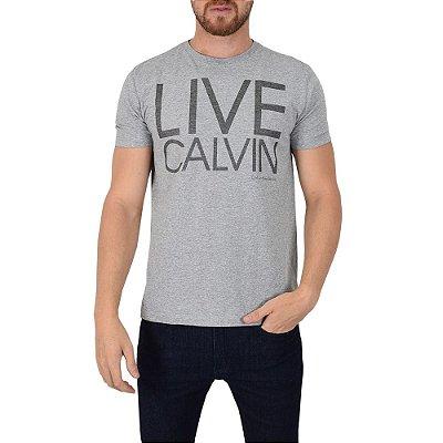 Camiseta Masculina Live Calvin Cinza - Calvin Klein