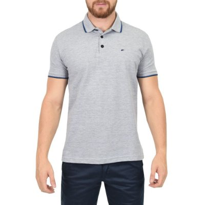 Camisa Polo Básica - Cinza e Azul - Ellus