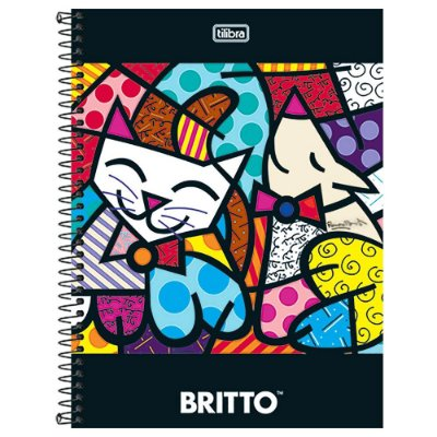 Caderno Romero Britto - Gato e Cachorro Feliz - 10 matérias