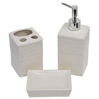 Kit para Banheiro Elegance Textura - 3 Peças - Wincy