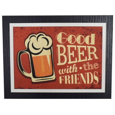 Quadro Decorativo Good Beer With The Friends - 30 x 23 cm