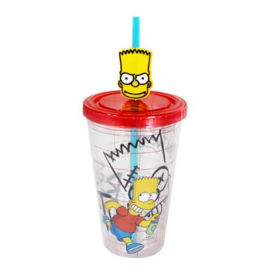 Copo Canudo 500ml - Bart Simpson - The Simpsons - Zona Criativa