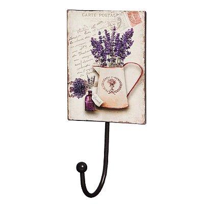 Gancho de Parede com Placa Decorativa - Cartão Postal Lavanda - Mart
