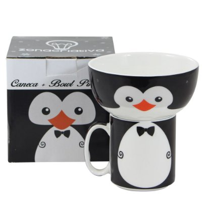 Kit de Caneca e Bowl Pinguim - Zona Criativa