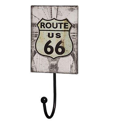 Gancho de Parede com Placa Decorativa - Route 66 - Mart