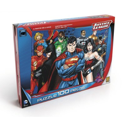 Quebra-Cabeça Liga da Justiça - 100 peças - Grow