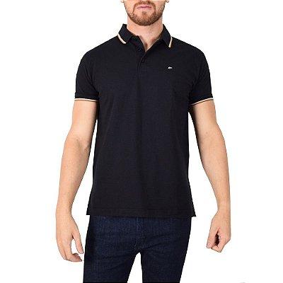 Camisa Polo Básica Preta/Marrom - Ellus