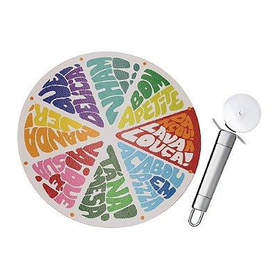 Conjunto para Pizza com Tábua de Vidro - 2 Peças - Euro Home