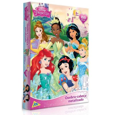Quebra-Cabeça Metalizado Princesas - 100 peças - Toyster
