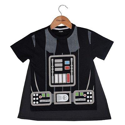 Camiseta Infantil Darth Vader Com Capa - Star Wars - Fakini