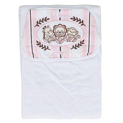 Toalha de Banho com Capuz Jungle Rosa - Colibri