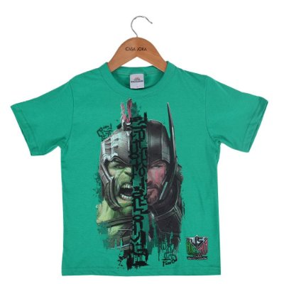 Camiseta Infantil Masculina - Hulk e Thor - Thor Ragnarok - Brandili
