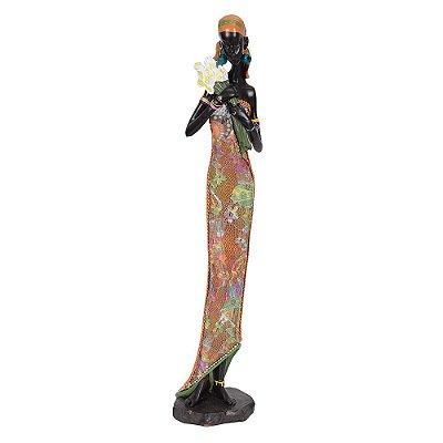 Figura Decorativa - Africana Segurando Flores
