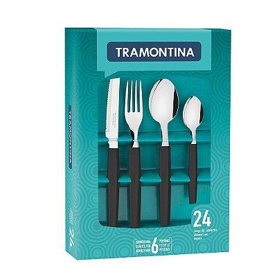 Faqueiro Munique 24 peças - Preto - Tramontina