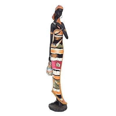 Figura Decorativa - Africana Segurando Vaso
