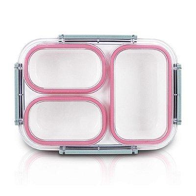 Pote Para Marmita 1350ml - 3 Compartimentos - Rosa - Jacki Design