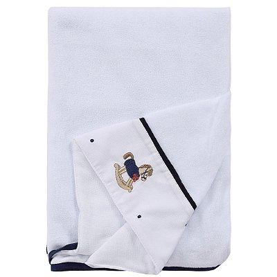 Toalha de Banho Forrada com Capuz Bordado - Azul Marinho - Roana