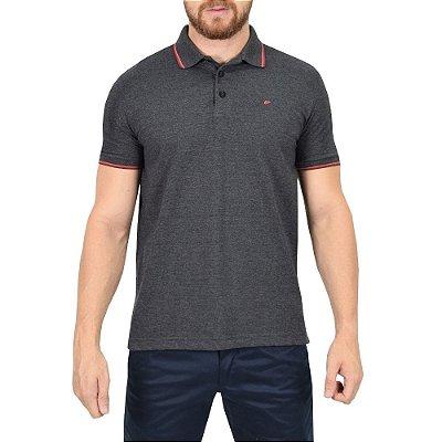 Camisa Polo Básica - Cinza Chumbo e Vermelho - Ellus
