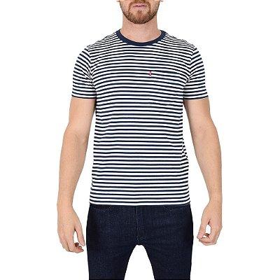 Camiseta Masculina Listrada Branco/Azul - Levis
