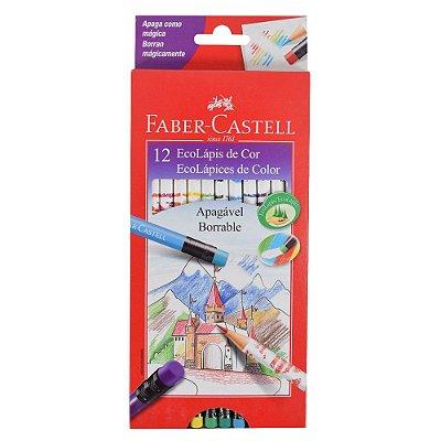 Lápis de Cor Faber Castell Apagável com Borracha - 12 cores