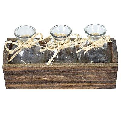 Cachepô de Madeira com Vasos - Decor Glass
