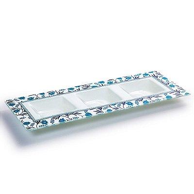 Petisqueira Retangular Decorada 3 Divisões - Decor Glass