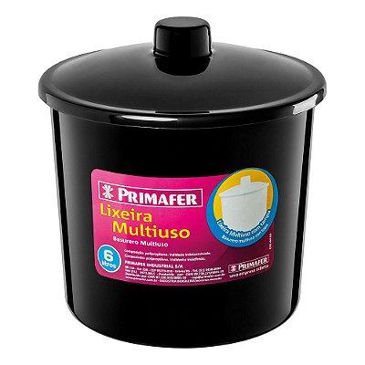 Lixeira Redonda Multiuso Preta 6L - Primafer