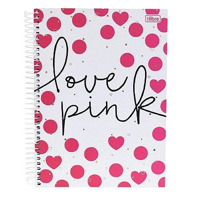 Caderno Love Pink - 16 Matérias - Tilibra