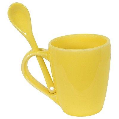 Caneca de Cerâmica Com Colher - Amarela - Scalla