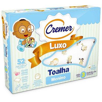 Toalha Luxo Estampada Menino - 3 unidades - Cremer